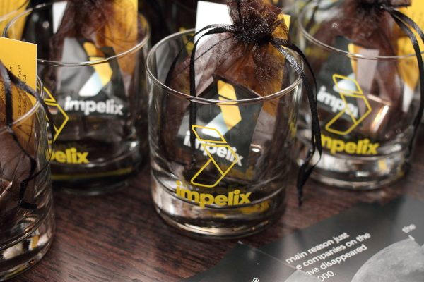impelix logo whiskey glasses and cubes giveaway - sd-wan event with velocloud - april 2018