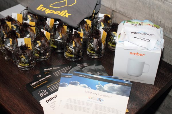 swag table - impelix sd-wan event with velocloud - april 2018 chicago