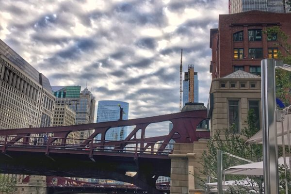 clouds view from pizzeria portofino Chicago river front