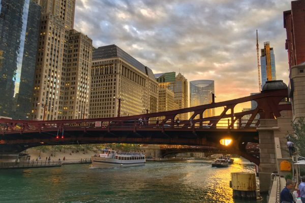 sunset on Chicago river front from pizzeria portofino patio